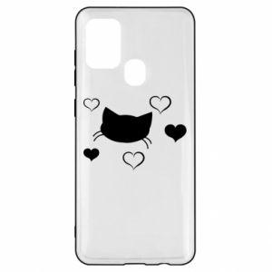 Samsung A21s Case Cat in love