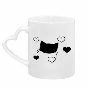 Kubek z uchwytem w kształcie serca Zakochany kot
