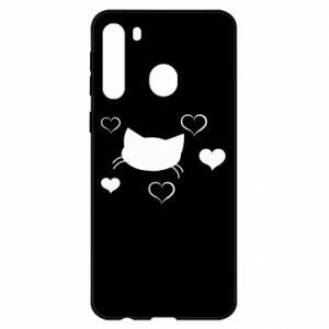 Samsung A21 Case Cat in love