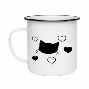 Enameled mug Cat in love