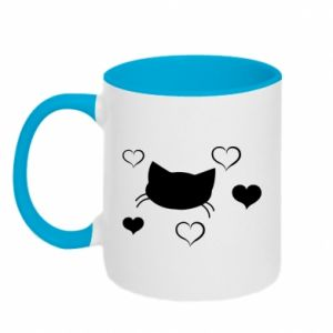 Two-toned mug Cat in love