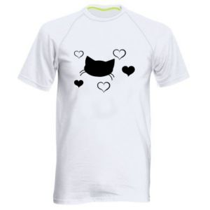 Męska koszulka sportowa Zakochany kot