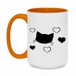 Two-toned mug 450ml Cat in love