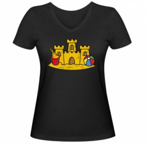 Damska koszulka V-neck Zamek z piasku - PrintSalon