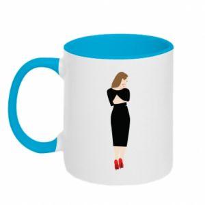 Two-toned mug Pensive girl