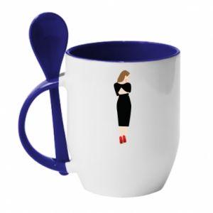 Mug with ceramic spoon Pensive girl
