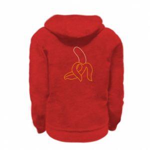 Kid's zipped hoodie % print% Outline banana