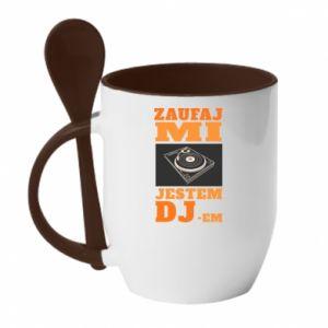Kubek z ceramiczną łyżeczką Zaufaj mi  jestem DJ-em.