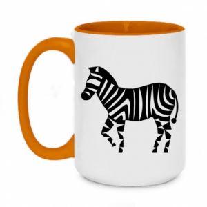 Kubek dwukolorowy 450ml Zebra with color stripes