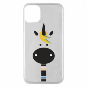 Etui na iPhone 11 Pro Zebra with colored stripes on the neck