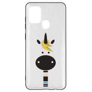 Etui na Samsung A21s Zebra with colored stripes on the neck