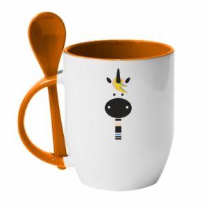 Mug with ceramic spoon Zebra with colored stripes on the neck - PrintSalon