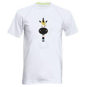 Men's sports t-shirt Zebra with colored stripes on the neck - PrintSalon