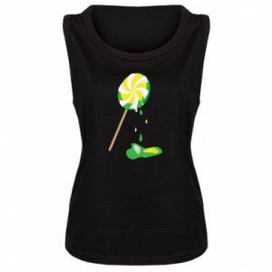 Koszulka bez rękawów damska Zielony lizak