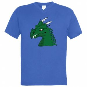 Męska koszulka V-neck Zielony smok z rogami - PrintSalon