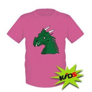 Dziecięcy T-shirt Zielony smok z rogami