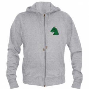 Męska bluza z kapturem na zamek Zielony smok z rogami - PrintSalon