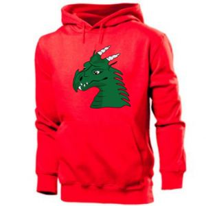 Men's hoodie Green Dragon with horns