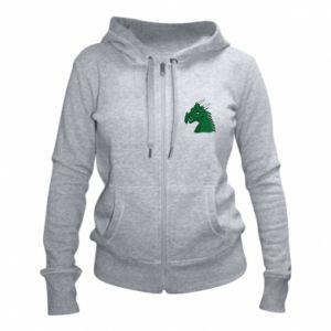 Damska bluza na zamek Zielony smok z rogami - PrintSalon