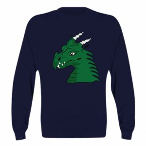 Bluza (raglan) Zielony smok z rogami - PrintSalon