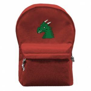 Plecak z przednią kieszenią Zielony smok z rogami - PrintSalon