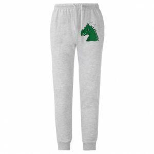Męskie spodnie lekkie Zielony smok z rogami - PrintSalon