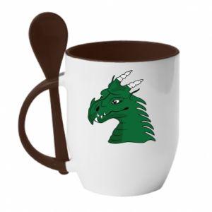Kubek z ceramiczną łyżeczką Zielony smok z rogami - PrintSalon