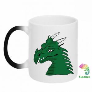 Kubek-kameleon Zielony smok z rogami - PrintSalon