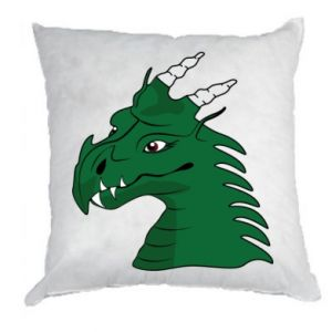Poduszka Zielony smok z rogami - PrintSalon