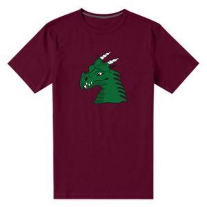 Męska premium koszulka Zielony smok z rogami - PrintSalon