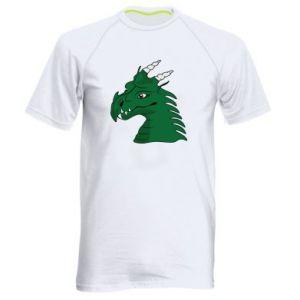 Męska koszulka sportowa Zielony smok z rogami - PrintSalon