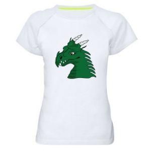 Damska koszulka sportowa Zielony smok z rogami - PrintSalon