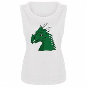 Damska koszulka Zielony smok z rogami - PrintSalon