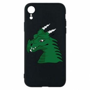 Etui na iPhone XR Zielony smok z rogami