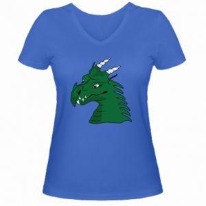 Damska koszulka V-neck Zielony smok z rogami - PrintSalon