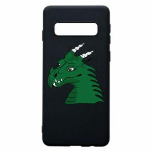 Etui na Samsung S10 Zielony smok z rogami