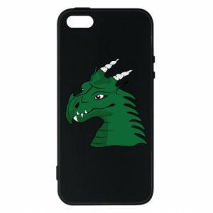 Etui na iPhone 5/5S/SE Zielony smok z rogami