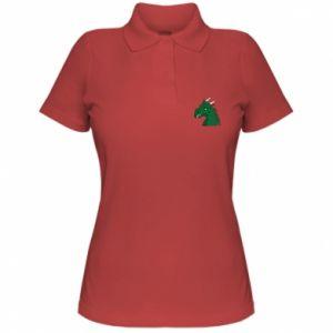 Damska koszulka polo Zielony smok z rogami - PrintSalon