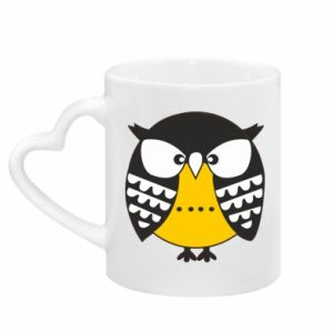 Mug with heart shaped handle Evil owl