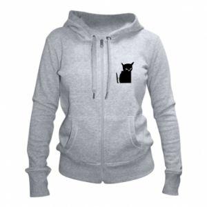 Women's zip up hoodies Angry cat
