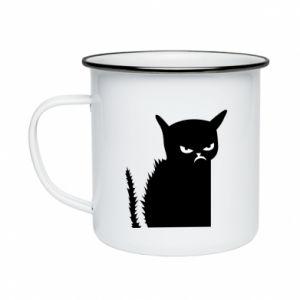 Kubek emaliowany Zły kot