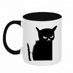 Two-toned mug Angry cat