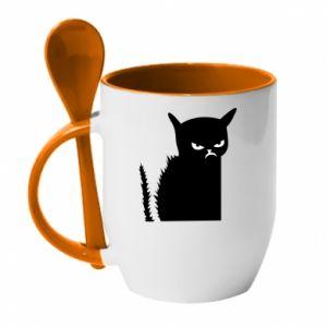 Mug with ceramic spoon Angry cat