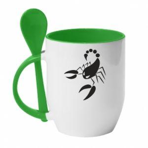 Mug with ceramic spoon Angry scorpion