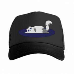 Trucker hat Tired cat - PrintSalon