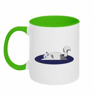 Two-toned mug Tired cat