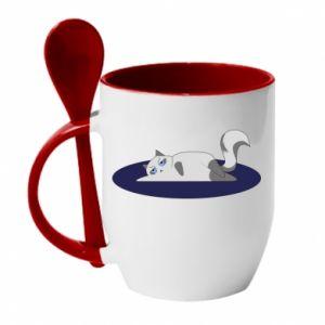 Mug with ceramic spoon Tired cat - PrintSalon