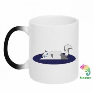 Chameleon mugs Tired cat - PrintSalon