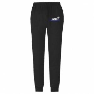 Męskie spodnie lekkie Tired cat - PrintSalon