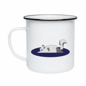 Enameled mug Tired cat - PrintSalon